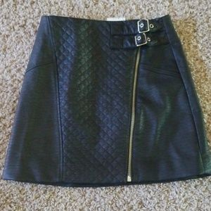 H&M faux Leather zip buckle skirt